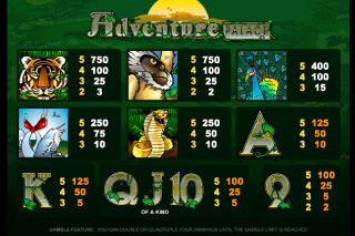Adventure Palace Paytable