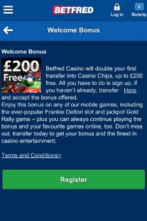 BetFred Mobile Casino Welcome Bonus