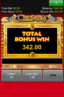 Cleopatra Free Spins Win