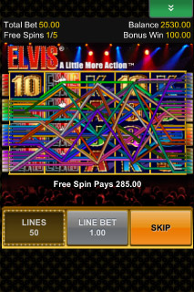 Elvis Mobile Slot Free Spins Win