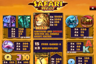 Safari Heat Mobile Slot Paytable