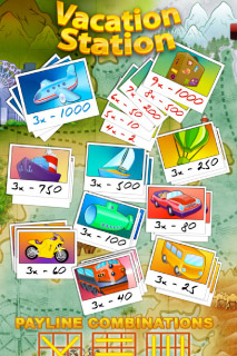 Vacation Station Mobile Slot Paytable