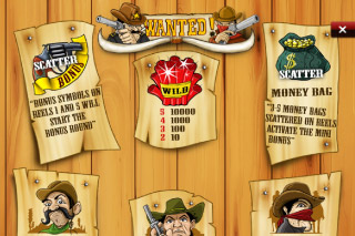 Wanted Mobile Slot Paytable
