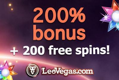 Get 200% Bonus + 200 Free Spins! at Leo Vegas Mobile Casino