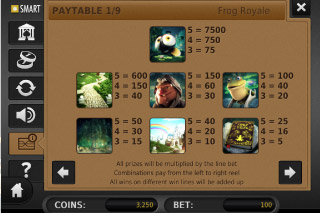 Frog Royale Paytable