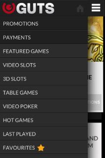 Guts Mobile Casino Menu