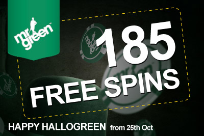 Get 185 Free Spins with Mr Greens' Halloween Promotion: valid from 25th Oct