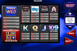 Sky Sports Mobile Slot Paytable