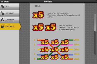 5xMagic Mobile Slot Paytable