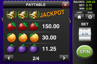 Bell of Fortune Classic Slot Paytable