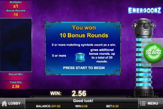 Energoonz Mobile Slot Bonus Round