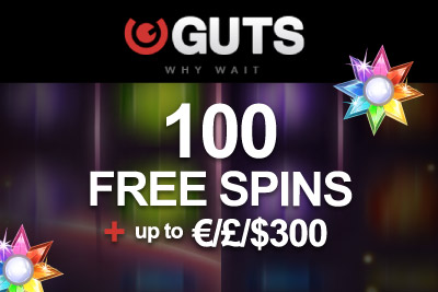 Get 100 Free Spins + up to £/€/$ 300 at Guts Mobile Casino