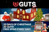 25 Days of Christmas - Get Free Spins Every Day at Guts Casino