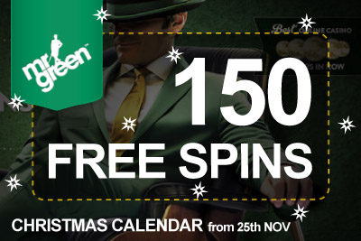 Get 150 Free Spins this Christmas at Mr Green Casino
