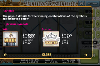 Princess Fortune Mobile Slot Paytable