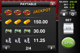 Speed Cash Classic Slot Paytable