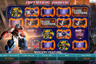 Transformers Mobile Slot Optimus Prime Bonus