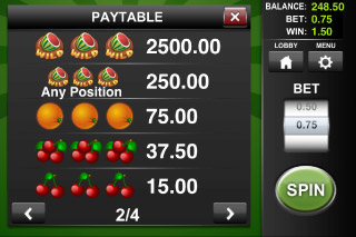 Wild Melon Classic Slot Paytable