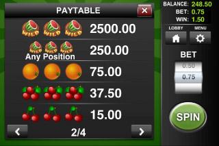 Wild Melon Classic Slot Paytable