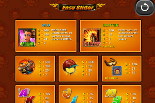Easy Slide Mobile Slot Paytable