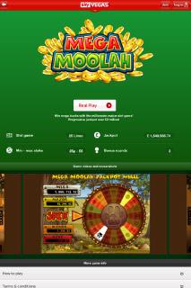 Sky Vegas Mobile Slot Page