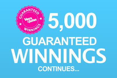 5K a Day Guaranteed Winnings Continues at Vera&John Casino