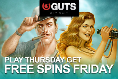Deposit & Play on Thursday and Get 10 Free Spins on Friday at Guts Casino