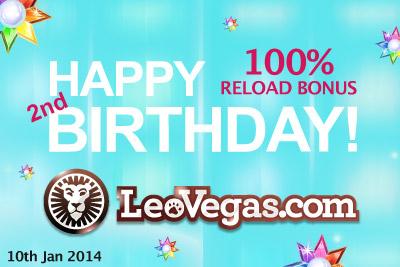 Celebrate & Get 100% Reload Bonus at Leo Vegas Casino on 10th Jan