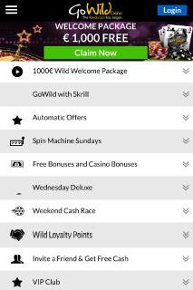 GoWild Mobile Casino Bonuses