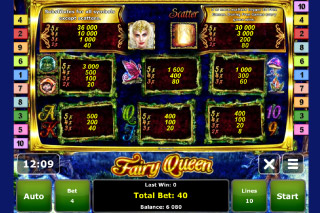 Fairy Queen Mobile Slot Paytable