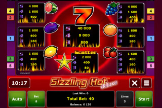 Sizzling Hot Deluxe Mobile Slot Paytable