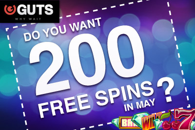 Get an Extra 100 Free Spins at Guts Casino in May