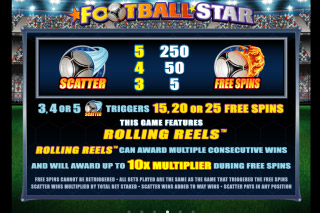 Football Star Mobile Slot Paytable