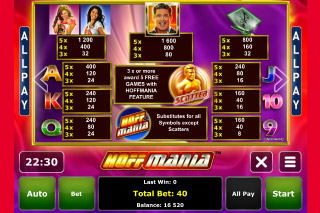 Hoffmania Mobile Slot Paytable