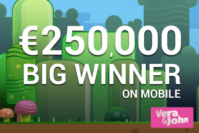 Big Winner, Wins Big on Reel Rush at Vera&John Mobile Casino