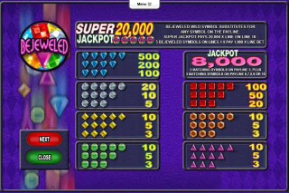 Bejeweled Mobile Slot Paytable
