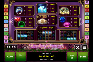 Dazzling Diamonds Mobile Slot Paytable