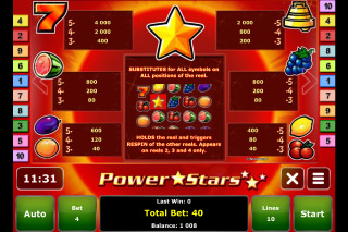 Power Stars Mobile Slot Paytable
