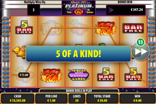 Quick Hit Platinum Mobile Slot Five of Kind Win