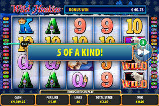 Wild Huskies Mobile Slot 5 of Kind Win