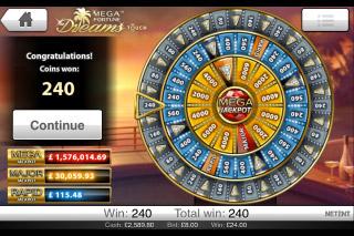 Mega Fortune Dreams Mobile Slot Wheel of Fortune