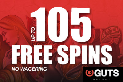 Get up to 105 Free Spins No Wagering at Guts Mobile Casino