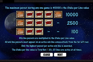 It Came From The Moon Slot Paytable