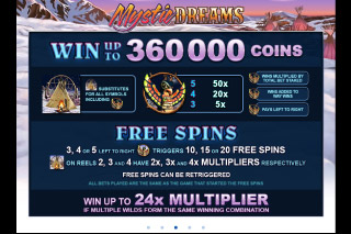 Mystic Dreams Mobile Slot Paytable