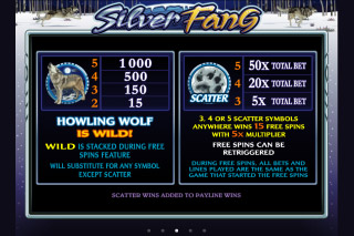 Silver Fang Mobile Slot Paytable