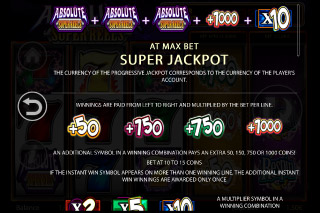 Absolute Super Reels Slot Jackpot Paytable
