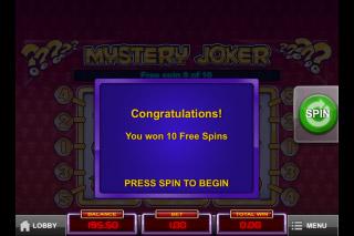 Mystery Joker Mobile Slot Free Spins Win