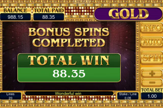 Gold Slot Bonus Spins Win