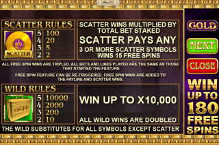 Gold Mobile Slot Paytable