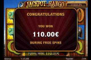 Jackpot Rango Slot Free Spins Win